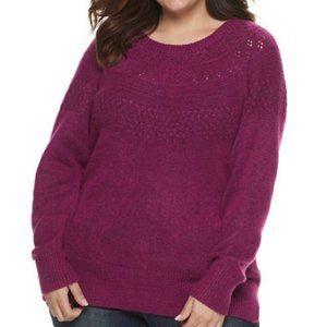 Plus Size EVRI Crewneck Pointelle Sweater 1X
